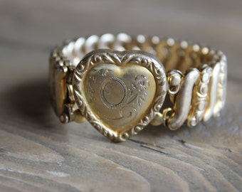 Antique Gold Filled Leading Lady Heart Bracelet