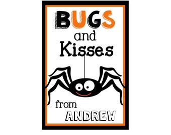 Halloween Stickers-Bugs and Kisses-Halloween Tags-Personalized Halloween Stickers-Personalized Halloween Gift Tags