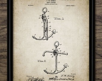 Anchor Patent Print - Anchor Design - Yachting - Sailing Ship Art - Vintage Anchor - Single Print #1010 - INSTANT DOWNLOAD