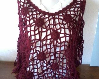 poncho shawl handmade vintage items openwork crochet fantasies