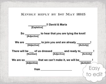 "Wedding Libs RSVP template download DIY  ""Mad Libs"" Printable response card Digital wedding templates in Word to print at home"