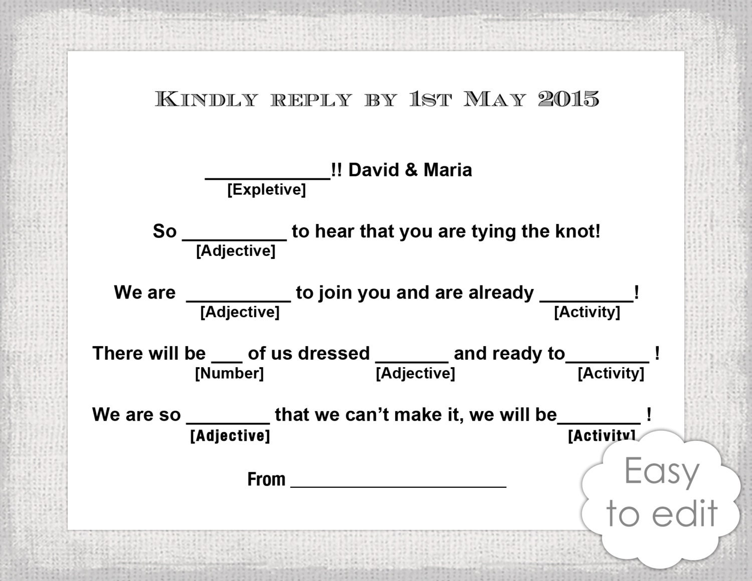 Wedding Libs RSVP template download DIY Mad Libs – Rsvp Card Template Word