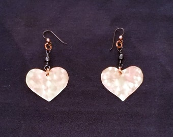 Heart Brushed Copper Earrings ***FREE SHIPPING