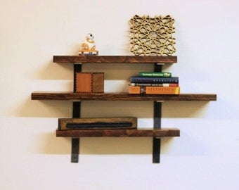 Complete Solid Reclaimed Wood Shelf Set - 3 pack of shelves with brackets and hardware included