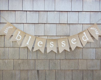 Blessed Banner, Thanksgiving Decor, Thanksgiving Banner, Thankful Burlap Bunting Thanksgiving Burlap Garland, Happy Thanksgiving, Rustic