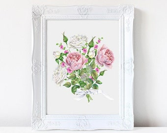 Wall art, Art print. Roses. Bouquet, Floral. Nursery print, Watercolor flowers, painting, flowers, nature, home decor