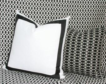 "Black & white ribbon border decorative throw pillow cover. 18"" x 18"". 20"" x 20"". 22"" x 22"". 24"" x 24"". 26"" x 26"". toss pillow."