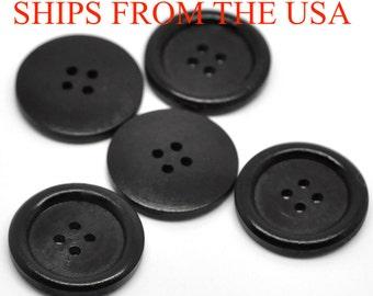 """100 Wood Buttons 1 1/8"""", 30mm  Black Buttons, Bulk Wooden Buttons, Black Wood Buttons Large Wooden Buttons Wholesale Buttons"""