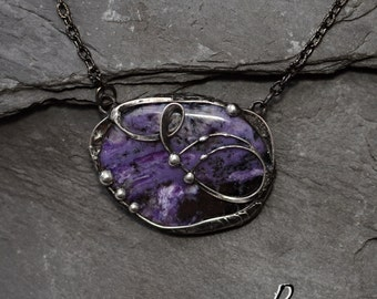 Charoite Pendant,Charoite stone,ooak pendant,stone necklace,Metalwork handmade jewelry,Lila necklace,Fantasy Pendant ,Valentine's Day,peager