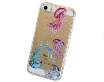 iPhone 5/5s/SE Jellyfish Case - Your choice of Clear TPU or Wood