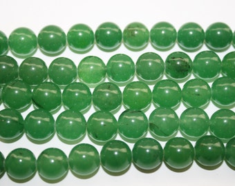 Jade Beads, Green Stone Beads, Polished Jade Beads - 12mm - 30ct - D052