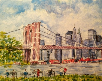 "Watercolor and pen original, 9"" by 12"" of Brooklyn Bridge, NY"