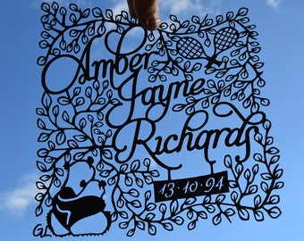 Happy Birthday unique personalised gift, handmade framed papercutting