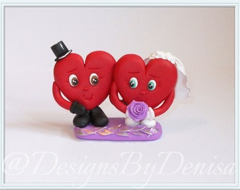 Handmade Hearts Cake Topper Figurines Bride and Groom Pair Wedding Cake Topper Keepsake Figurines Cute Hearts Pair Ornament Wedding Topper