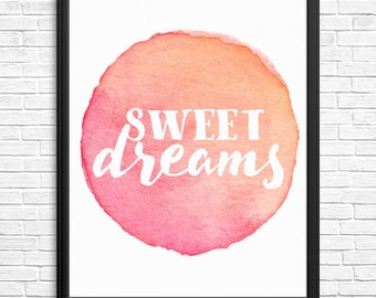 Sweet Dreams Watercolour Nursery Print