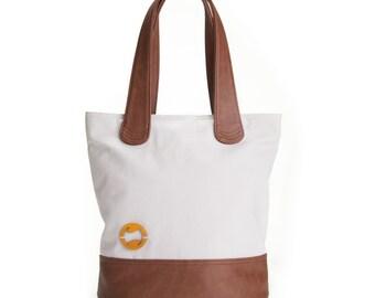 gray canvas bag | tote handbag in stone gray | BERGEN vegan purse with organic cotton | eco friendly handbag | bucket tote | zip top tote