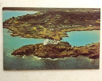 Vintage Me Postcard Nubble Light York Beach  Maine Lighthouse Postcard Aerial View