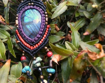 Labradorite and Black Kyanite Macrame Necklace Boho Folk Hippie Festival Wicca Witch