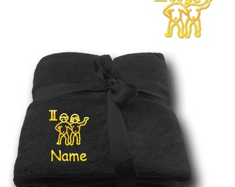 Blanket embroidered with Star sign Gemini  + Name