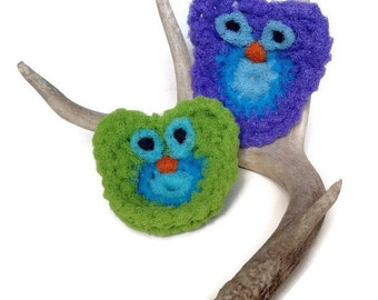 Dish Scrubbies, 2 Owl Dish Scrubbies, Doubled Layered Crochet Scrubbies, Nylon Net Scrubbies, Lavender/Blue or Lime Green/BlueGift For Her