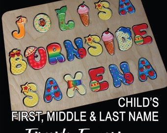 Wooden Childs Name Puzzle (FULL NAME) with Whimsical Alphabet and Engraved Back