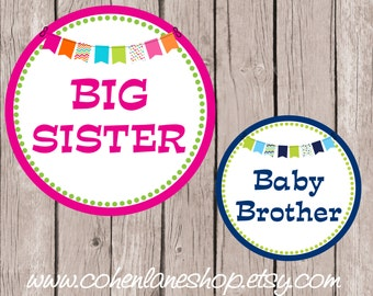 Instant Download Big Sister and Baby Brother Tshirt Transfer Design Combo.  Big Sister Iron On. Baby Brother iron on. Baby Shower Gift.