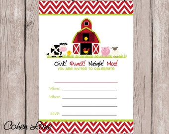 Instant Download Fill In Chevron Barnyard Party Invitation. Fill in Invitation.  Farm Party Invite. Farm Animals invitation. Red Barn.
