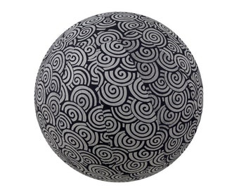65cm Yoga Ball Cover - balance ball cover, exercise ball cover, fitness ball cover, physio ball cover - Black Swirl Print