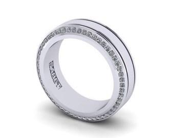 Diamond Eternity Band Diamond Wedding Band Wedding Ring Mens Band 14k White Gold Ring Diamond Mens Ring Infinity bandPristine Custom Rings