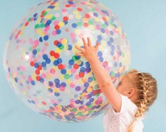 Giant Confetti Balloons (3), 36 Inch Clear Balloons with Tissue Paper Confetti, Meri Meri Jumbo Confetti Balloons, Rainbow Birthday Decor