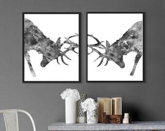 Deer Black White Print Watercolor Wildlife Print, Animal Art Print, Watercolor Deer, Animal Wall Decor, Deer Home Decor - B27/8
