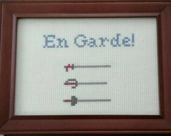 En Garde! Fencing Cross Stitch Framed!