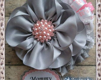 Grey & Pink Mommy To Be Corsage Badge Baby Shower Mommy to Be Corsage It's a Girl