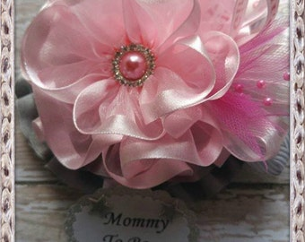 Pink & Grey Chevron Baby Shower Mommy to Be Corsage badge  Pink Grey Chevron Theme Baby Shower Corsage