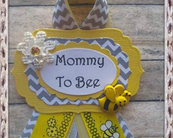 Bumble Bee Mommy to Be Corsage Badge Yellow & Black Bumble Bee Theme Corsage