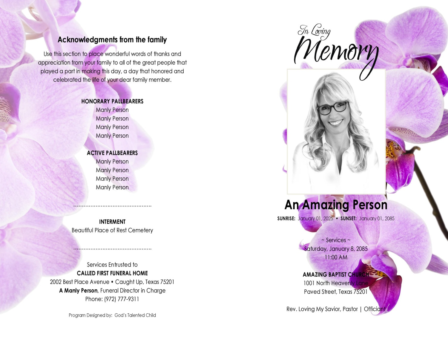 11x17 8 page booklet purple orchids      printable funeral