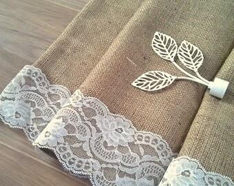 "SALE - Burlap Curtain - Cafe Curtain - Rustic Burlap Cafe Curtain with lace trim - Burlap Valance - Kitchen Drape - Burlap Drape 52"" x 24"""