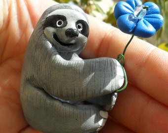 Have a Nice Day Sloth- Sloth with Flower- Polymer Clay Sloth Figurine- Sloth Cake Topper