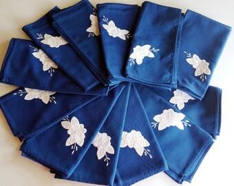 Beautiful Vintage Table Napkins, Vintage Patchwork Embroidery, Blue Vintage Embroidered Napkins, Whipstich Patchwork Embroidery - Set of 12
