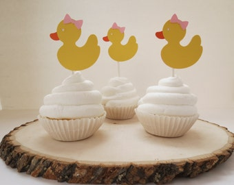 Girl Rubber Duck - Cupcake Toppers -Set of 12