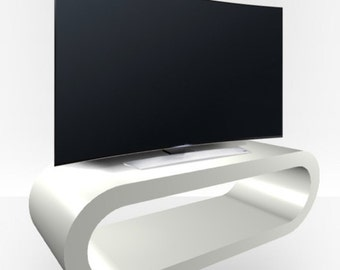 Light Grey Gloss TV Stand - Large Hoop