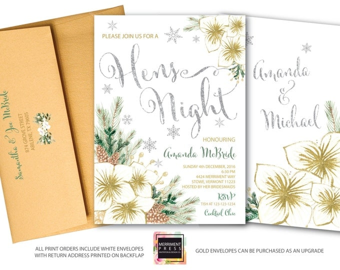 Winter Hens Night Invitation // Holiday Hens Night // Snowflake Hens Night // Floral // Christmas // Silver // Gold // VERMONT COLLECTION