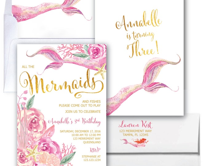 Mermaid Birthday Invitation // Under the Sea // Watercolor // Gold Foil // Boho Chic // Floral // Girls // Pink // QUEENSLAND COLLECTION