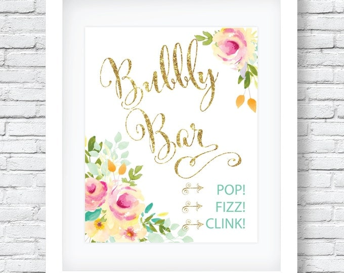 """Bubbly Bar Sign 8x10""""  // Mimosas Bar // Brunch & Bubbly // Gold Glitter // Mint // Yellow //  Made to Match our MALIBU COLLECTION"""