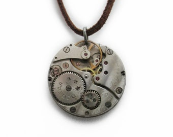 "Steampunk ""Rogue"" Vintage Clockwork Pendant and Leather Necklace"