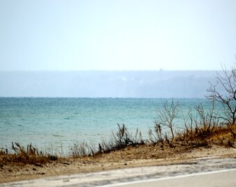 Beach picture, wall art print, Blue waters, sandy beach and cloudy sky, home or office decor, Lakefront view, panoramic and standard picture