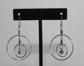 Double Circles with Pink Gems