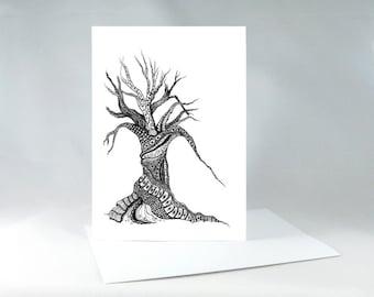 Steampunk Tree Card, Zentangle Steampunk Tree, Winter Tree, Leafless Tree, Steampunk Greeting Card, Zentangle Drawing
