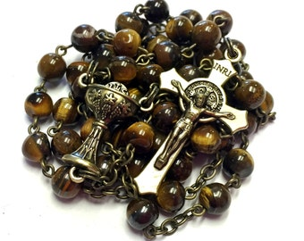 Vintage Style First Communion Rosary in Tiger Eye with Chalice Center and St. Benedict Crucifix