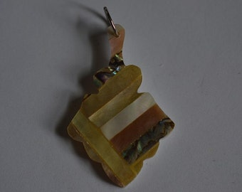 Vintage Mother of Pearl and Abalone Shell Intarsia Pendant (1060360)